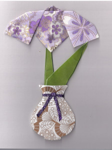 Origami Iris in Vase card for CATS